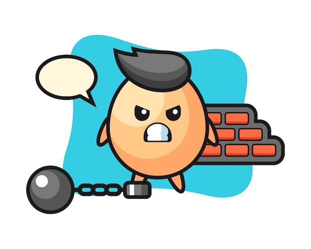 죄수로 계란의 캐릭터 마스코트, 티셔츠, 스티커, 로고 요소를위한 귀여운 스타일 디자인