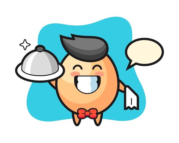 ウェイターとしての卵のキャラクターマスコット、tシャツ、ステッカー、ロゴ要素のかわいいスタイルのデザイン