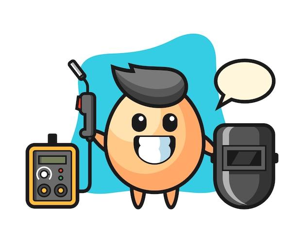 Характер талисмана яйца в качестве сварщика, милый дизайн стиля для футболки, наклейки, элемент логотипа