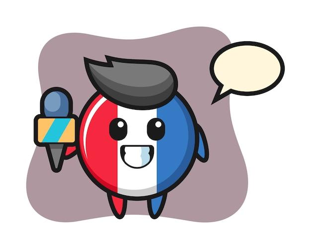 ニュース記者としてのフランスの旗バッジのキャラクターマスコット