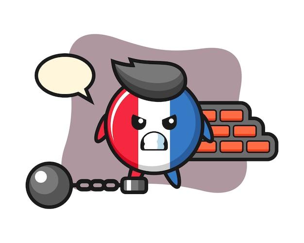 囚人としてのフランスの旗バッジのキャラクターマスコット