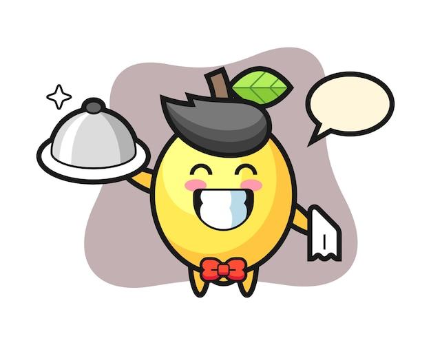 ウェイターとしてのレモンのキャラクターマスコット