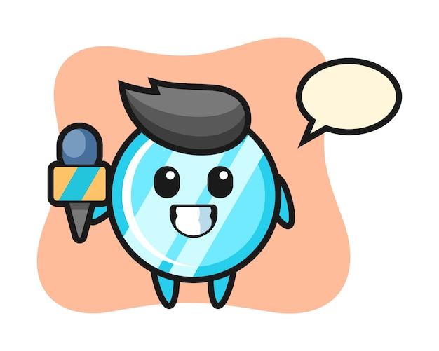報道記者としての鏡のキャラクターマスコット