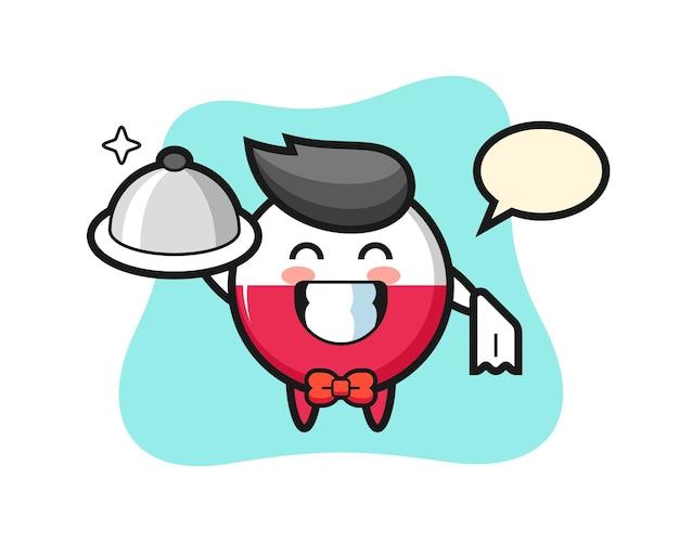 ウェイターとしてのポーランド国旗バッジのキャラクターマスコット