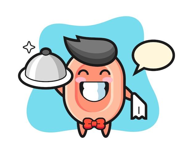 ウェイターとして石鹸のキャラクターマスコット、tシャツ、ステッカー、ロゴ要素のかわいいスタイル