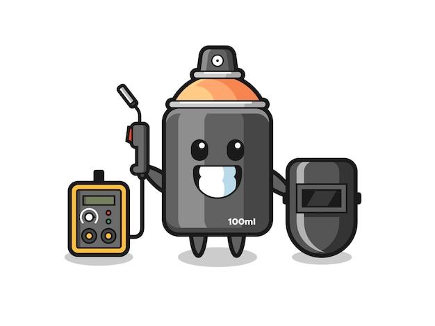 溶接機としてのスプレーペイントのキャラクターマスコット、tシャツ、ステッカー、ロゴ要素のかわいいスタイルのデザイン
