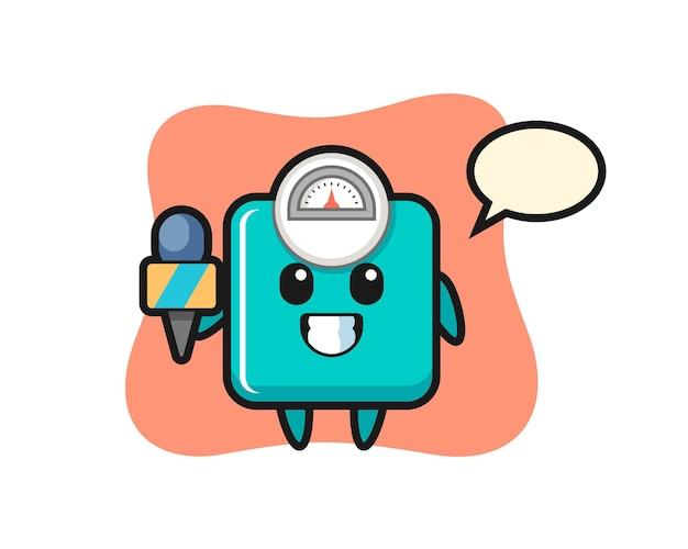 뉴스 기자로서의 체중계 캐릭터 마스코트, 티셔츠, 스티커, 로고 요소를 위한 귀여운 스타일 디자인
