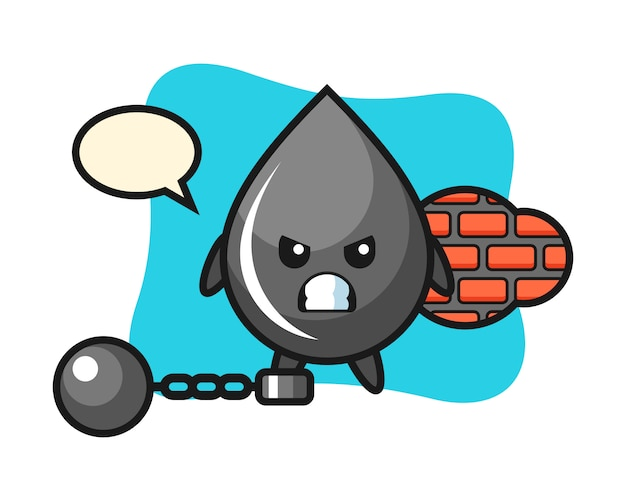 Character mascot of oil drop as a prisoner