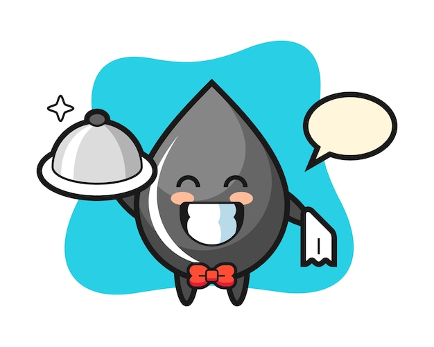 Character mascot of oil drop as a waiters