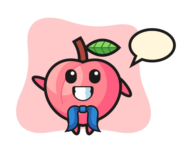 Character mascot of peach as a sailor man, cute style design for t shirt