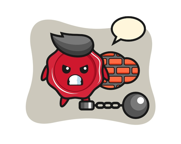 Character mascot of sealing wax as a prisoner