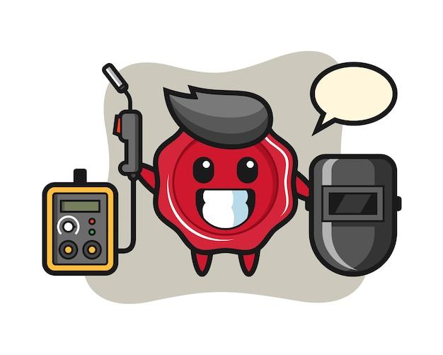 Character mascot of sealing wax as a welder