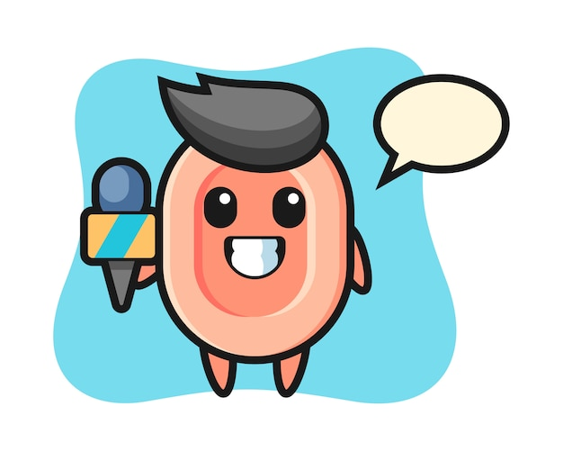 Character mascot of soap as a news reporter, cute style  for t shirt, sticker, logo element