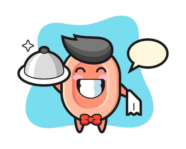 Character mascot of soap as a waiters, cute style  for t shirt, sticker, logo element