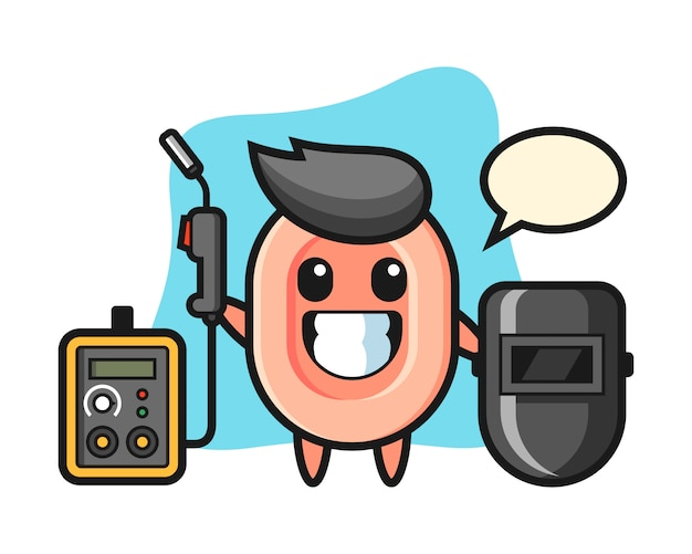 Character mascot of soap as a welder, cute style  for t shirt, sticker, logo element
