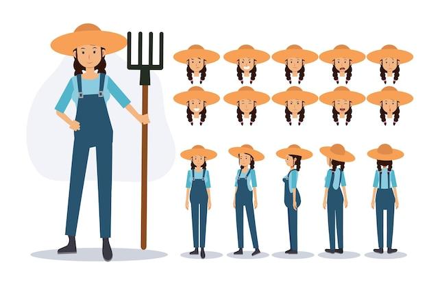 Персонаж женщины-фермера в различных представлениях, плоский вектор 2d иллюстрации персонажа из мультфильма.