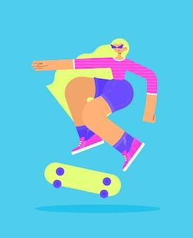 스케이트 보드에 점프 트릭을하고 행복한 금발 소녀의 캐릭터