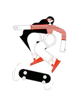 스케이트 보드에서 점프 트릭을하고 행복한 소녀의 캐릭터