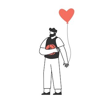 풍선과 함께 젊은 남자의 캐릭터. 발렌타인 데이 준비. 사랑과 로맨스 개념.