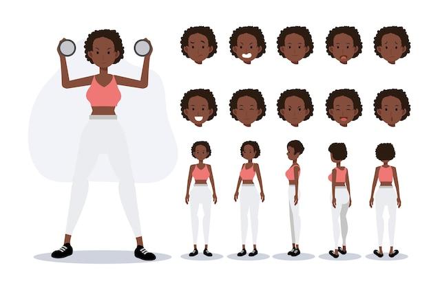 Персонаж афро-американской женщины носить упражнения в различных представлениях, плоский вектор 2d мультипликационный персонаж иллюстрации.