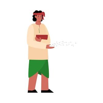 씨앗을 던지는 인도 농부의 캐릭터 평면 그림