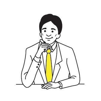ペンを押しながら考えるビジネスマンのキャラクター。