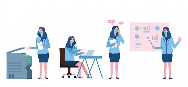 Характер бизнес-леди, работающей на распространение вируса ковид-19. женщина с защитной маской. плоский дизайн иллюстрация