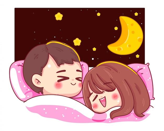 カップルや恋人のキャラクターは、ファンタジーの夜と月が白い背景で隔離のベッドで寝る。おやすみコンセプト。