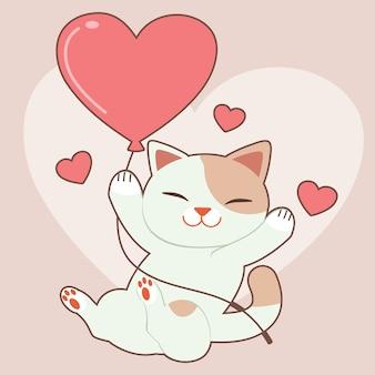 귀여운 고양이의 캐릭터 핑크에 심장 ballon을 garps