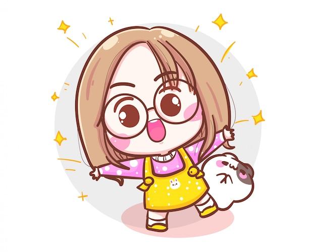 かわいい女の子と小さな猫を祝うと驚きの概念と白い背景の上の陽気なキャラクター。