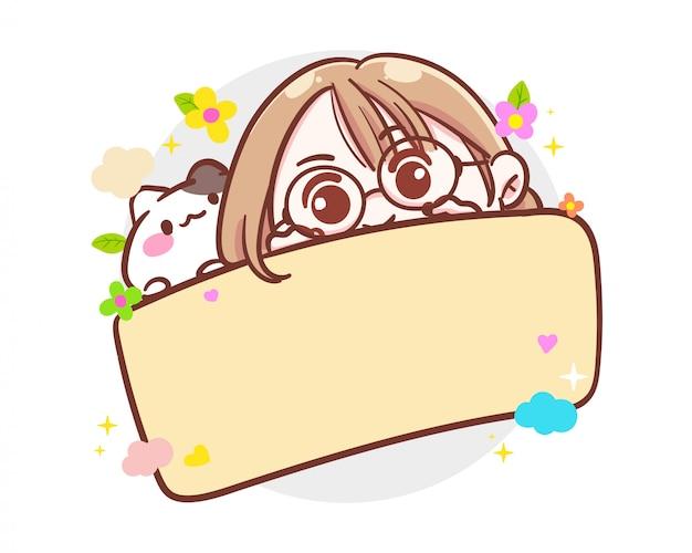 Персонаж милая девушка и маленькая кошка, держащая пустую доску или пустой знамя на белом фоне с бумажным шаблоном.