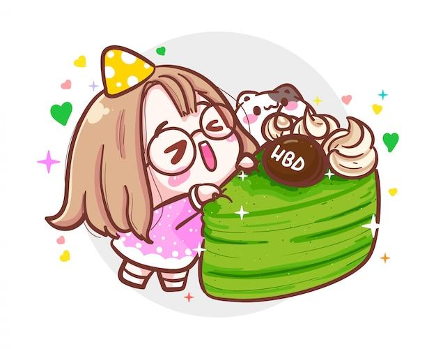Персонаж милая девушка и маленькая кошка в партии счастливого дня рождения на белой предпосылке с годовщиной дня рождения.