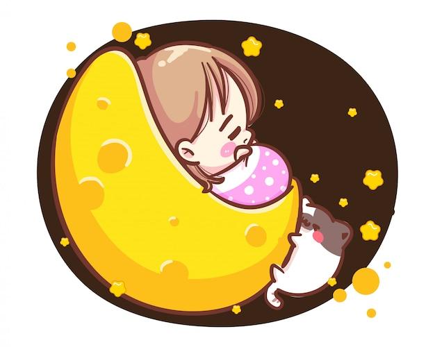 Персонаж милая девушка и маленькая кошка, спящая на луне луны на белом фоне с спокойной ночи и счастливого времени.
