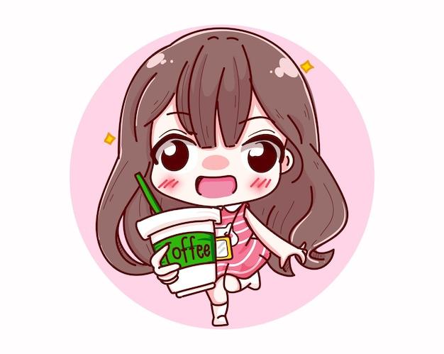 Характер милой девушки держа чашку кофе изолированную на белой предпосылке с счастливым утренним временем.