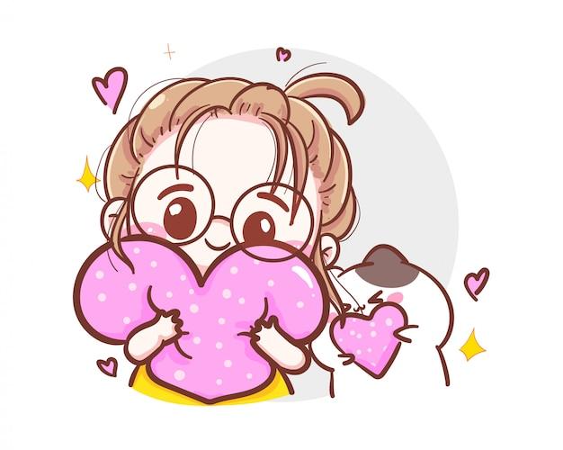 Характер милой девушки держа розовое сердце в руках для счастливого дня валентинок на белой предпосылке.