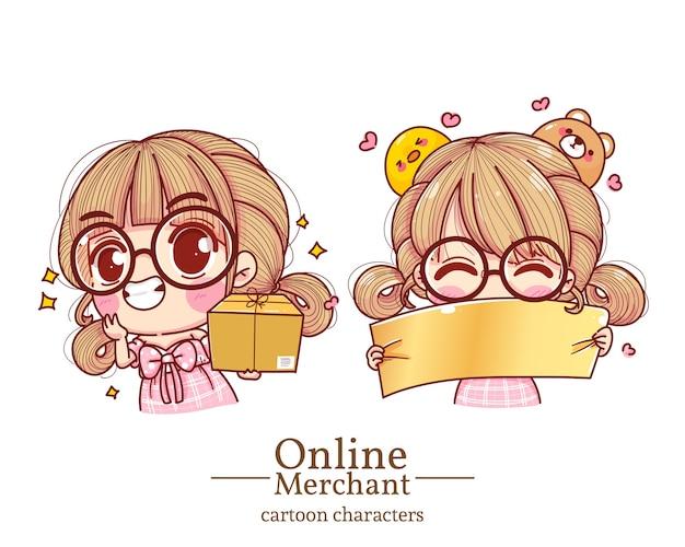 Персонаж милая девушка онлайн-торговец коробки для переноски и иллюстрации шаржа знаков удерживания установили.