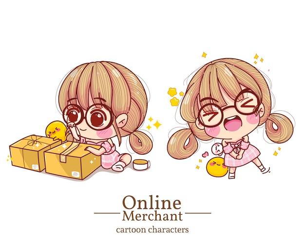 かわいい女の子のオンライン商人梱包箱漫画のキャラクターのイラストを設定します。