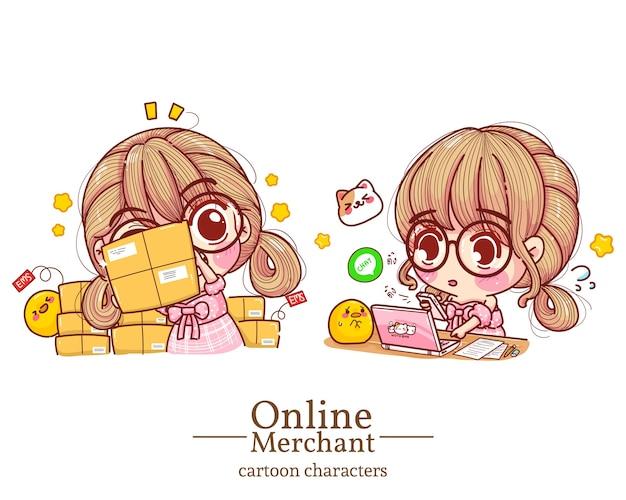 Персонаж симпатичной девушки-онлайн-торговца держал коробки и нажимал на мобильный заказ на иллюстрации шаржа ноутбука.
