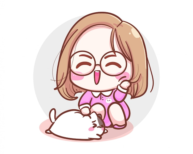 Персонаж милая девушка играет с маленькой кошкой на белом фоне и милой концепцией котенка.