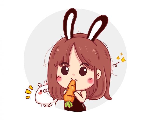 Персонаж милая девушка в форме черного кролика с проводкой, изолированной на белом фоне.