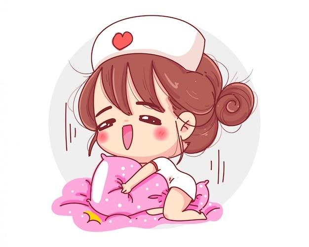 白い背景で隔離の投稿で看護師の制服を着ているかわいい女の子のキャラクター。