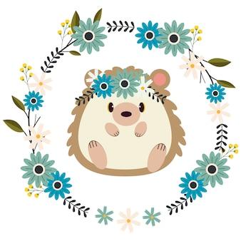 地面と花のリングの上に座ってかわいいハリネズミのキャラクター。