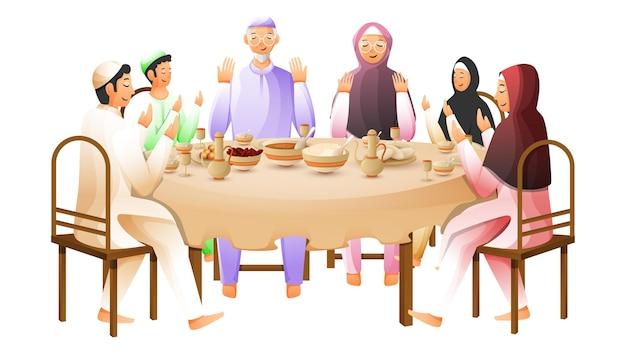 白で食事の前に一緒に祈るイスラム教徒の家族のキャラクター