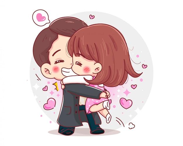 Характер объятия романтической пары с концепцией счастливого дня валентинок изолированной на белой предпосылке.