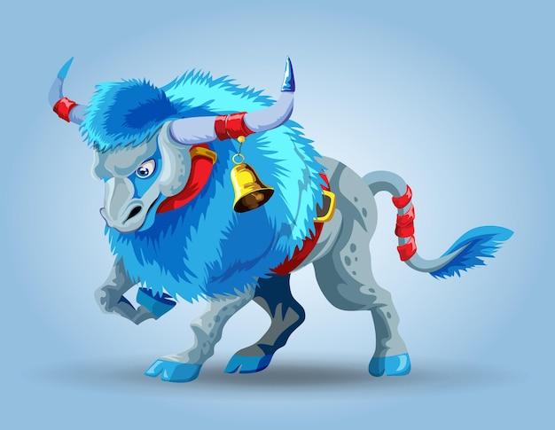 雪に覆われた青い雄牛のキャラクター。たてがみの長い青いおうし座。 2021年の新年のシンボル。