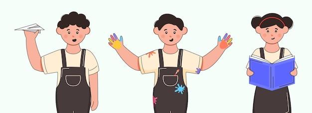 紙飛行機、背景の本を持つ学生の子供のキャラクター。