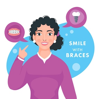 彼女の歯ブレースを示す10代の少女のキャラクター