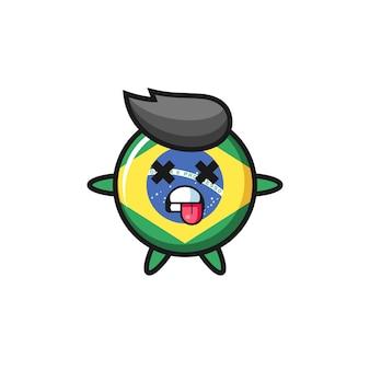 데드 포즈가 있는 귀여운 브라질 국기 배지의 캐릭터, 티셔츠, 스티커, 로고 요소를 위한 귀여운 스타일 디자인
