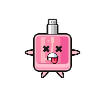 Персонаж милого парфюма с мертвой позой, милый стиль дизайна для футболки, наклейки, элемента логотипа