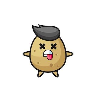 죽은 포즈의 귀여운 감자 캐릭터, 티셔츠, 스티커, 로고 요소를 위한 귀여운 스타일 디자인